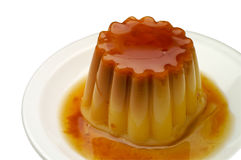 Creme caramel in a dish closeu Royalty Free Stock Image