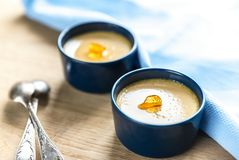 Creme caramel in the pots Stock Photography