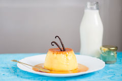 Creme Caramel with Vanilla Beans on Top Royalty Free Stock Photo