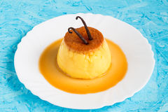 Creme Caramel with Vanilla Beans on Top Royalty Free Stock Image