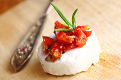 Creme cheese appetizer on wood Stock Photography
