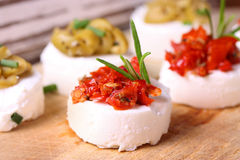 Creme cheese canapes with decoration Royalty Free Stock Photos