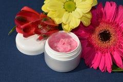 Creme cor-de-rosa, bálsamo de bordos Fotos de Stock