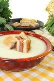 Creme cozinhado da sopa do aipo com fritos de pão salmon Imagem de Stock Royalty Free