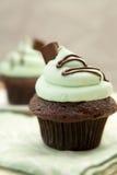 creme cupcake de mint 免版税库存照片