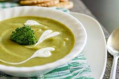 Creme da sopa dos brócolis Foto de Stock Royalty Free