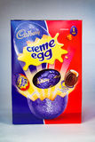 Creme Egg Easter. CHESTER, UNITED KINGDOM - March 19 2017: Cadbury`s Creme Egg Easter Egg box. A popular chocolate treat for the Easter holidays Stock Images