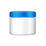 Creme, gel ou tampão azul de pó, garrafa cinzenta Fotos de Stock