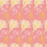 Creme i złota atramenty kreślący suszący kwiaty na różowego tła seameless powtórce royalty ilustracja