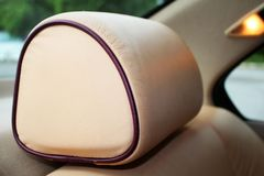 Creme leather headrest Stock Photography
