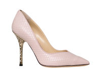 Creme low heeled shoes Royalty Free Stock Photo