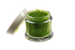 Creme orgânico, caixa aberta em um fundo branco Fotografia de Stock