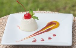 Creme panna cota Puddingauflauf-Obsttortenachtisch lizenzfreie stockfotos