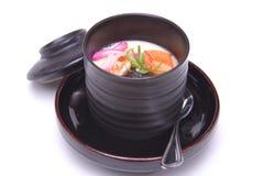 Creme salgado cozinhado do ovo ou Chawan Mushi, appe quente japonês imagem de stock