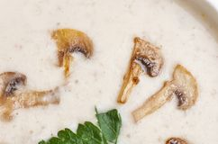 Creme soup. With mushrooms in white bowl Royalty Free Stock Images