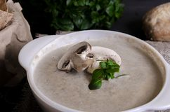 Cremesuppe machte von den Pilzen mit Brot lizenzfreie stockfotografie