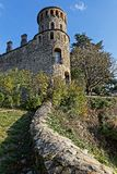 Tower and walls of remparts of Cremieu stock photos