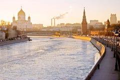 Cremlino di Mosca e cattedrale di Cristo Remeeder Foto a colori Fotografia Stock