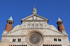 Cremona: the Cathedral, the top of the front Royalty Free Stock Photo