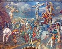 CREMONA, ITALIË, 2016: De fresko van Kruisiging in Kathedraal van Veronderstelling van Heilige Maagdelijke Mary Stock Foto