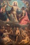 CREMONA, ITALIA, 2016: La pittura di Cristo la pittura di Pantokrator in Chiesa di San Agostino da Gervasio Galli & da x28; 1620& Fotografia Stock