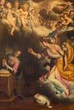 CREMONA, ITALIEN, 2016: Die Ankündigungsfarbe in der Kirche Chiesa di San Vincenzo durch Gervasio Gatti (1550 - 1631) Lizenzfreie Stockbilder