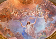 CREMONA, ITALY, 2016: The Apotheosis of St. Agata fresco on the cupola in church Chiesa di Santa Agata by Giovanni Bergamaschi. CREMONA, ITALY - MAY 24, 2016 Royalty Free Stock Photo