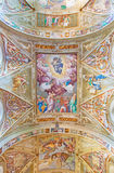 CREMONA, ITALY, 2016: The Ascension of the Lord fresco in the center of the vault in Chiesa di San Sigismondo by Giulio Campi Royalty Free Stock Photos