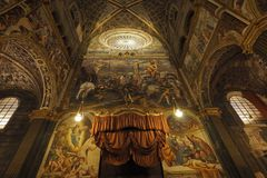 CREMONA, ITALY DECEMBER 30: The interior of the cathedral Maria Assunta is the main place of worship of the city - 30 December 201 stock images