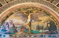 CREMONA, ITALY, 2016: The fresco of Crucifixion of Jesus in Chiesa di Santa Rita by Giulio Campi (1547) Stock Photo