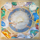 CREMONA, ITALY, 2016: The fresco of Pentecost on the vault Chiesa di San Sigismondo church by Giulio Campi (1542) Royalty Free Stock Image