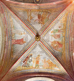 CREMONA, ITALY, 2016: The gothic ceiling fresco in left transept of The Cathedral with the Old Testament scenes. Stock Image