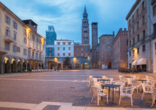 CREMONA, ITALY, 2016: The Piazza Cavour square at dusk. Royalty Free Stock Photo