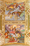 CREMONA, ITALY, 2016: The Resurrection of Jesus and prophet Jonah fresco Stock Photos