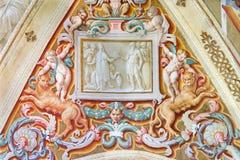 CREMONA, ITALY, 2016: The symbolic fresco on the wault in Chiesa di San Sigismondo Stock Images