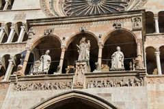 Cremona: loggia on the front of the Cathedral Royalty Free Stock Photography