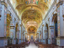 Cremona - The nave of baroque church Chiesa di San Sigismondo with the wault fresco by Giulio Campi Royalty Free Stock Images