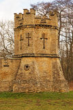 A Crenelated Tower Set inthe Corner of a Wall Royalty Free Stock Photography