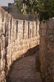 Crenelations on the top of the walls of Jerusalem. Taken on the walls of Jerusalem on  sunny day Royalty Free Stock Images