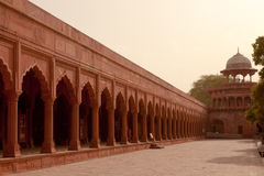 Crenellated Red Sandstone arcades Taj Mahal, India Royalty Free Stock Image