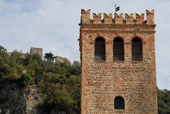 Crenellated tower and keep Frederick in Monselice in the Veneto (Italy) Royalty Free Stock Photography