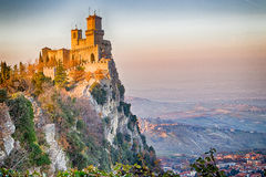 Crenellated tower overlooking the valley Royalty Free Stock Image