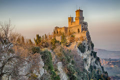 Crenellated tower overlooking the valley Royalty Free Stock Photo