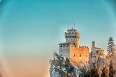 Crenellated tower overlooking the valley Royalty Free Stock Photography