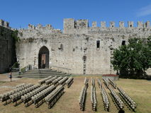 Crenellated walls of Emperor's Castle in Prato Stock Images