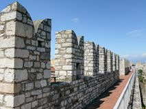 Crenellated walls of Emperor's Castle in Prato Royalty Free Stock Image