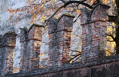 Crenellations of the walls of a medieval castle in Thiene city Stock Images