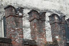 Crenellations of the walls of a medieval castle in Thiene. In Italy stock photography