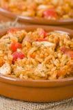 Creole Jambalaya. Rice cooked with chicken, smoked sausage and tomatoes stock photo