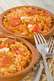 Creole Jambalaya. Rice cooked with chicken, smoked sausage and tomatoes royalty free stock images